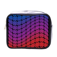 Colorful Red & Blue Gradient Background Mini Toiletries Bags by Simbadda
