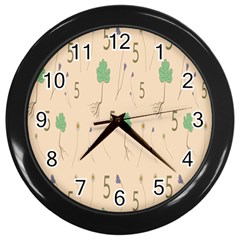 Five Leaf Green Brown Purple Floral Flower Tulip Sunflower Wall Clocks (black) by Alisyart
