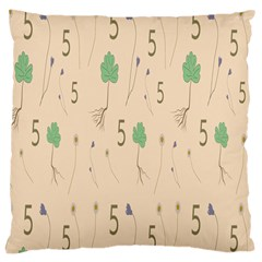 Five Leaf Green Brown Purple Floral Flower Tulip Sunflower Large Cushion Case (two Sides) by Alisyart