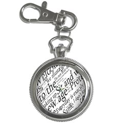 Abstract Minimalistic Text Typography Grayscale Focused Into Newspaper Key Chain Watches by Simbadda