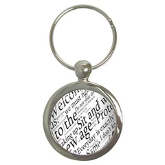 Abstract Minimalistic Text Typography Grayscale Focused Into Newspaper Key Chains (round)  by Simbadda