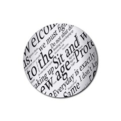 Abstract Minimalistic Text Typography Grayscale Focused Into Newspaper Rubber Round Coaster (4 Pack)  by Simbadda