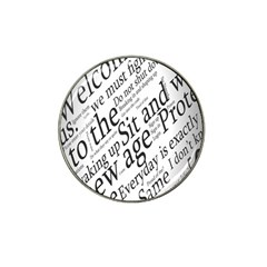Abstract Minimalistic Text Typography Grayscale Focused Into Newspaper Hat Clip Ball Marker (4 Pack) by Simbadda