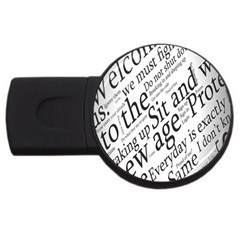 Abstract Minimalistic Text Typography Grayscale Focused Into Newspaper Usb Flash Drive Round (4 Gb) by Simbadda