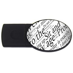 Abstract Minimalistic Text Typography Grayscale Focused Into Newspaper Usb Flash Drive Oval (4 Gb) by Simbadda