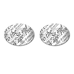 Abstract Minimalistic Text Typography Grayscale Focused Into Newspaper Cufflinks (oval) by Simbadda
