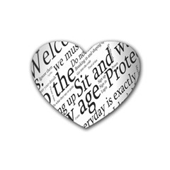 Abstract Minimalistic Text Typography Grayscale Focused Into Newspaper Heart Coaster (4 Pack)  by Simbadda