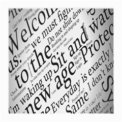 Abstract Minimalistic Text Typography Grayscale Focused Into Newspaper Medium Glasses Cloth (2 Side) by Simbadda
