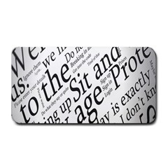 Abstract Minimalistic Text Typography Grayscale Focused Into Newspaper Medium Bar Mats by Simbadda