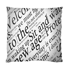 Abstract Minimalistic Text Typography Grayscale Focused Into Newspaper Standard Cushion Case (one Side) by Simbadda