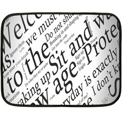 Abstract Minimalistic Text Typography Grayscale Focused Into Newspaper Double Sided Fleece Blanket (mini)  by Simbadda