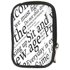 Abstract Minimalistic Text Typography Grayscale Focused Into Newspaper Compact Camera Cases by Simbadda