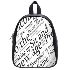 Abstract Minimalistic Text Typography Grayscale Focused Into Newspaper School Bags (small)  by Simbadda