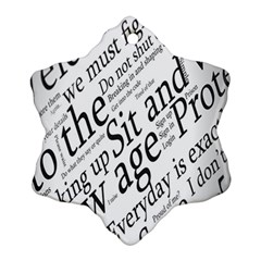 Abstract Minimalistic Text Typography Grayscale Focused Into Newspaper Snowflake Ornament (two Sides) by Simbadda