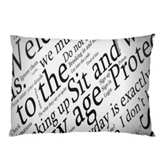 Abstract Minimalistic Text Typography Grayscale Focused Into Newspaper Pillow Case (two Sides) by Simbadda