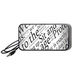 Abstract Minimalistic Text Typography Grayscale Focused Into Newspaper Portable Speaker (black) by Simbadda