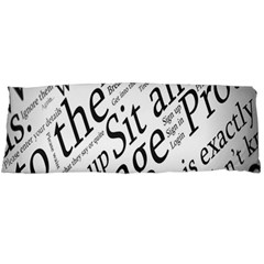 Abstract Minimalistic Text Typography Grayscale Focused Into Newspaper Body Pillow Case (dakimakura) by Simbadda