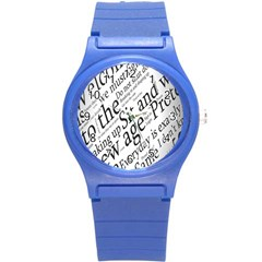 Abstract Minimalistic Text Typography Grayscale Focused Into Newspaper Round Plastic Sport Watch (s) by Simbadda