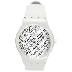 Abstract Minimalistic Text Typography Grayscale Focused Into Newspaper Round Plastic Sport Watch (m) by Simbadda