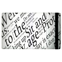 Abstract Minimalistic Text Typography Grayscale Focused Into Newspaper Apple Ipad 3/4 Flip Case by Simbadda