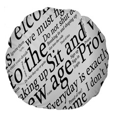Abstract Minimalistic Text Typography Grayscale Focused Into Newspaper Large 18  Premium Round Cushions by Simbadda