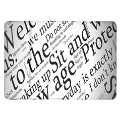Abstract Minimalistic Text Typography Grayscale Focused Into Newspaper Samsung Galaxy Tab 8 9  P7300 Flip Case by Simbadda
