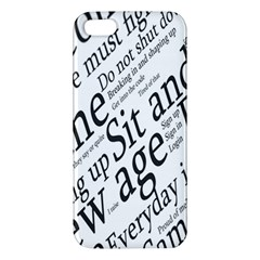 Abstract Minimalistic Text Typography Grayscale Focused Into Newspaper Iphone 5s/ Se Premium Hardshell Case by Simbadda