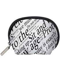 Abstract Minimalistic Text Typography Grayscale Focused Into Newspaper Accessory Pouches (small)  by Simbadda