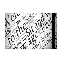 Abstract Minimalistic Text Typography Grayscale Focused Into Newspaper Ipad Mini 2 Flip Cases by Simbadda