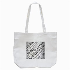 Abstract Minimalistic Text Typography Grayscale Focused Into Newspaper Tote Bag (white) by Simbadda