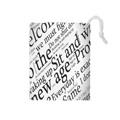 Abstract Minimalistic Text Typography Grayscale Focused Into Newspaper Drawstring Pouches (medium)  by Simbadda