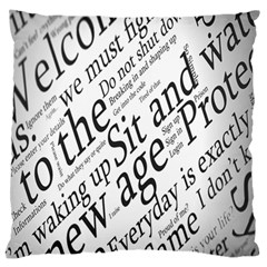 Abstract Minimalistic Text Typography Grayscale Focused Into Newspaper Standard Flano Cushion Case (two Sides) by Simbadda