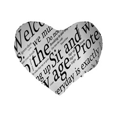 Abstract Minimalistic Text Typography Grayscale Focused Into Newspaper Standard 16  Premium Flano Heart Shape Cushions by Simbadda