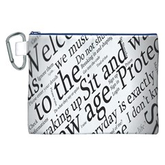 Abstract Minimalistic Text Typography Grayscale Focused Into Newspaper Canvas Cosmetic Bag (xxl) by Simbadda