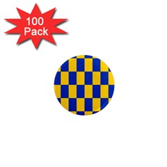 Flag Plaid Blue Yellow 1  Mini Magnets (100 Pack)  by Alisyart