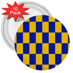 Flag Plaid Blue Yellow 3  Buttons (10 Pack)  by Alisyart