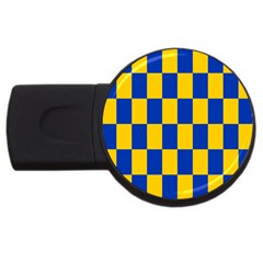 Flag Plaid Blue Yellow Usb Flash Drive Round (2 Gb) by Alisyart