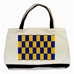 Flag Plaid Blue Yellow Basic Tote Bag by Alisyart