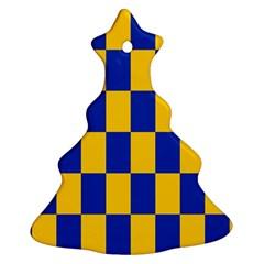 Flag Plaid Blue Yellow Ornament (christmas Tree)  by Alisyart
