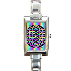 Flower Of Life Gradient Fill Black Circle Plain Rectangle Italian Charm Watch by Simbadda
