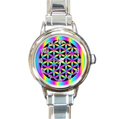 Flower Of Life Gradient Fill Black Circle Plain Round Italian Charm Watch by Simbadda