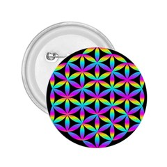 Flower Of Life Gradient Fill Black Circle Plain 2 25  Buttons by Simbadda