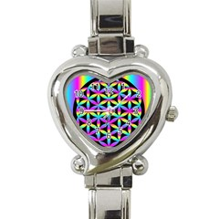 Flower Of Life Gradient Fill Black Circle Plain Heart Italian Charm Watch by Simbadda