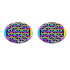 Flower Of Life Gradient Fill Black Circle Plain Cufflinks (oval) by Simbadda