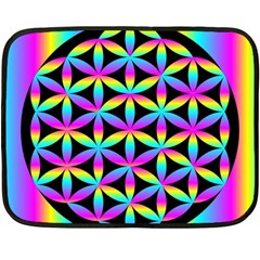 Flower Of Life Gradient Fill Black Circle Plain Double Sided Fleece Blanket (mini)  by Simbadda
