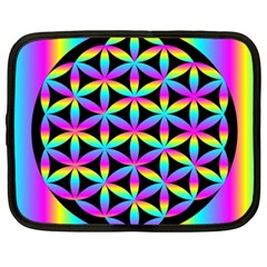 Flower Of Life Gradient Fill Black Circle Plain Netbook Case (xxl)  by Simbadda