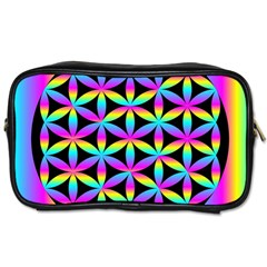 Flower Of Life Gradient Fill Black Circle Plain Toiletries Bags by Simbadda