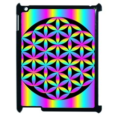 Flower Of Life Gradient Fill Black Circle Plain Apple Ipad 2 Case (black) by Simbadda