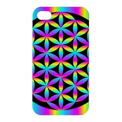 Flower Of Life Gradient Fill Black Circle Plain Apple Iphone 4/4s Hardshell Case by Simbadda
