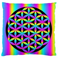 Flower Of Life Gradient Fill Black Circle Plain Large Flano Cushion Case (two Sides) by Simbadda
